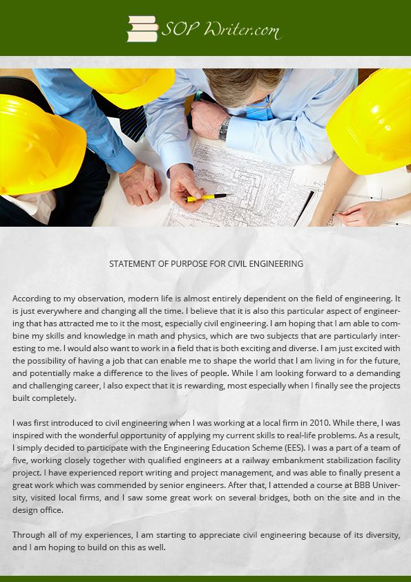 Statement Of Purpose For Civil Engineering Writing Service SoP