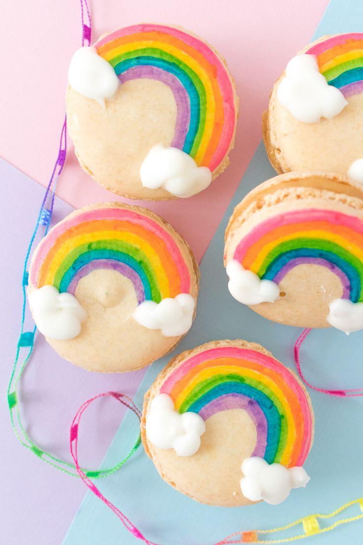 Painted Rainbow Macarons
