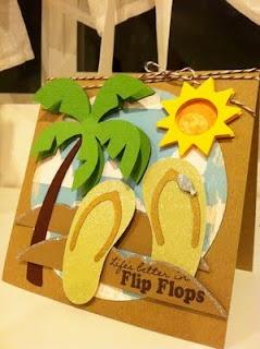 Cricut Beach card.  Create a Critter and Life's a Beach Catridges.  *