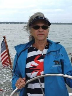 """6-METER SAILOR - Sharon Hough of Florida sailed the York River and recalled her days racing 6-meter boats in Seattle. """"They were post-war wooden boats, 38 feet, and a lot of work to sail."""" A newer 32 proved much easier."""