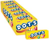 Tootsie Roll Original Dots (2.25 oz. Box) | The delightfully chewable, cone-shaped treat, Original DOTS offer a traditional, well-balanced blend of mixed fruit flavors, including Cherry, Strawberry, Lemon, Lime, and Orange.