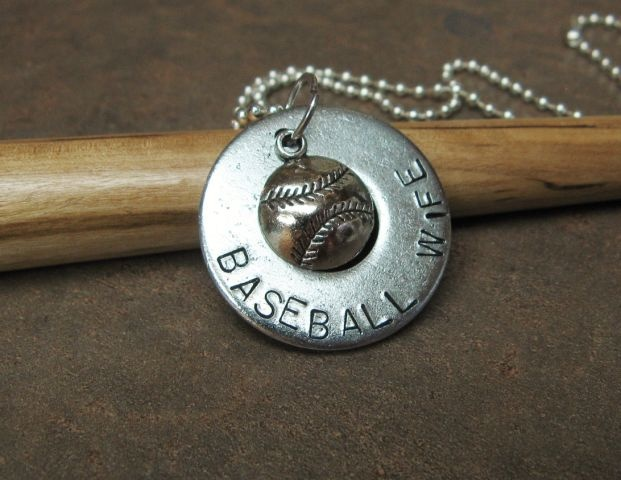 """Baseball Wife. This 1 1/4"""" washer comes on a 32"""" silver ball chain.  Check out Washer Words on facebook for my other items.  $10.00"""