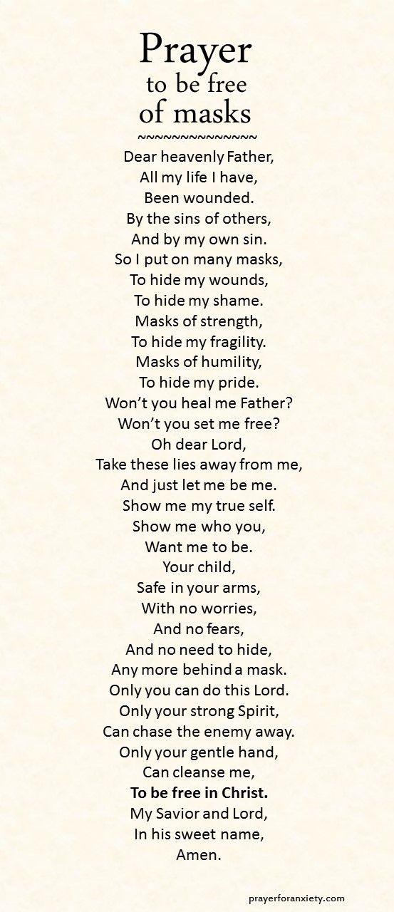 Prayer to be free of masks