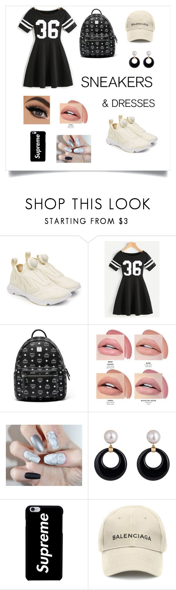 """""""Reebok Sneakers"""" by lilqueen23 ❤ liked on Polyvore featuring Reebok, MCM and Balenciaga"""