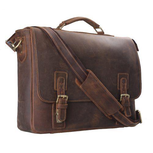 """Kattee Men's Leather Satchel Briefcase, 16"""" Laptop Messenger Shoulder Bag Tote"""