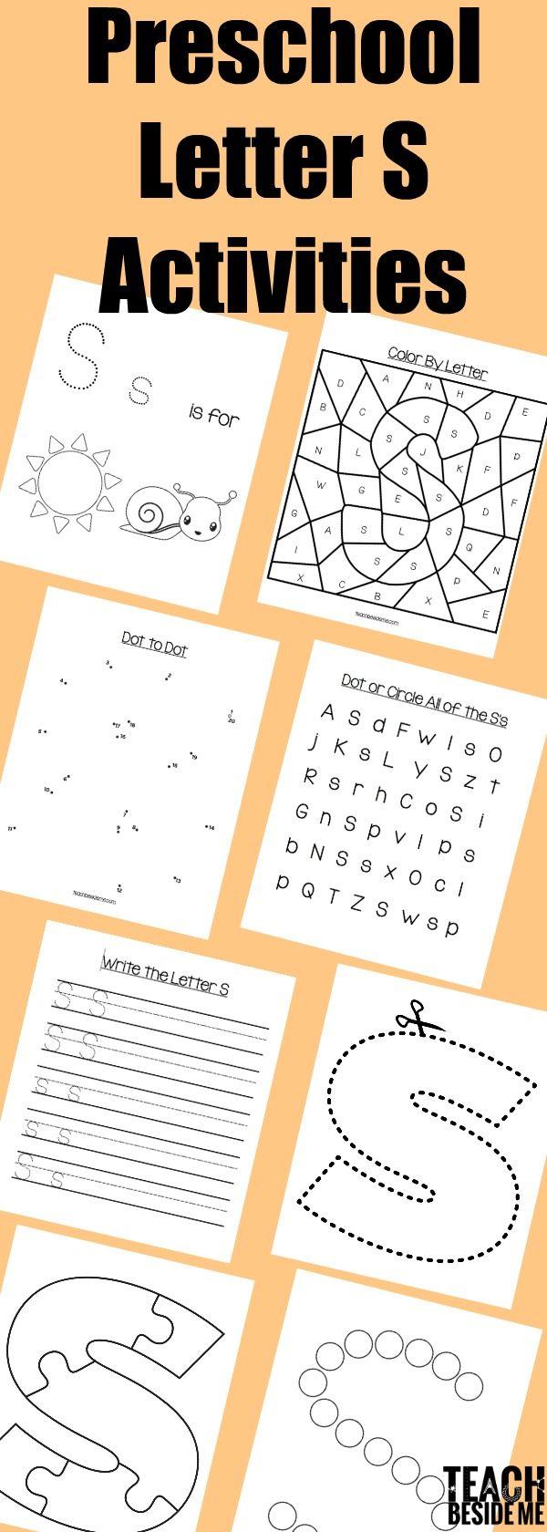 Preschool Letter S Activities worksheets