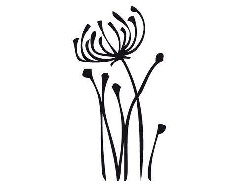 schwarz/weiss Ansicht - Wandtattoo Blumen Abstrakt