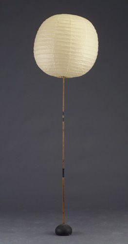 // Isamu Noguchi; Enameled Metal, Bamboo and Paper 'Akari' Floor Lamp, 1951.