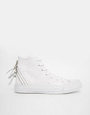 Converse - All Star - Scarpe da ginnastica alte effetto rettile in rilievo bianche
