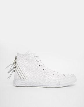 Enlarge Converse All Star White Reptile Embossed High Top Trainers