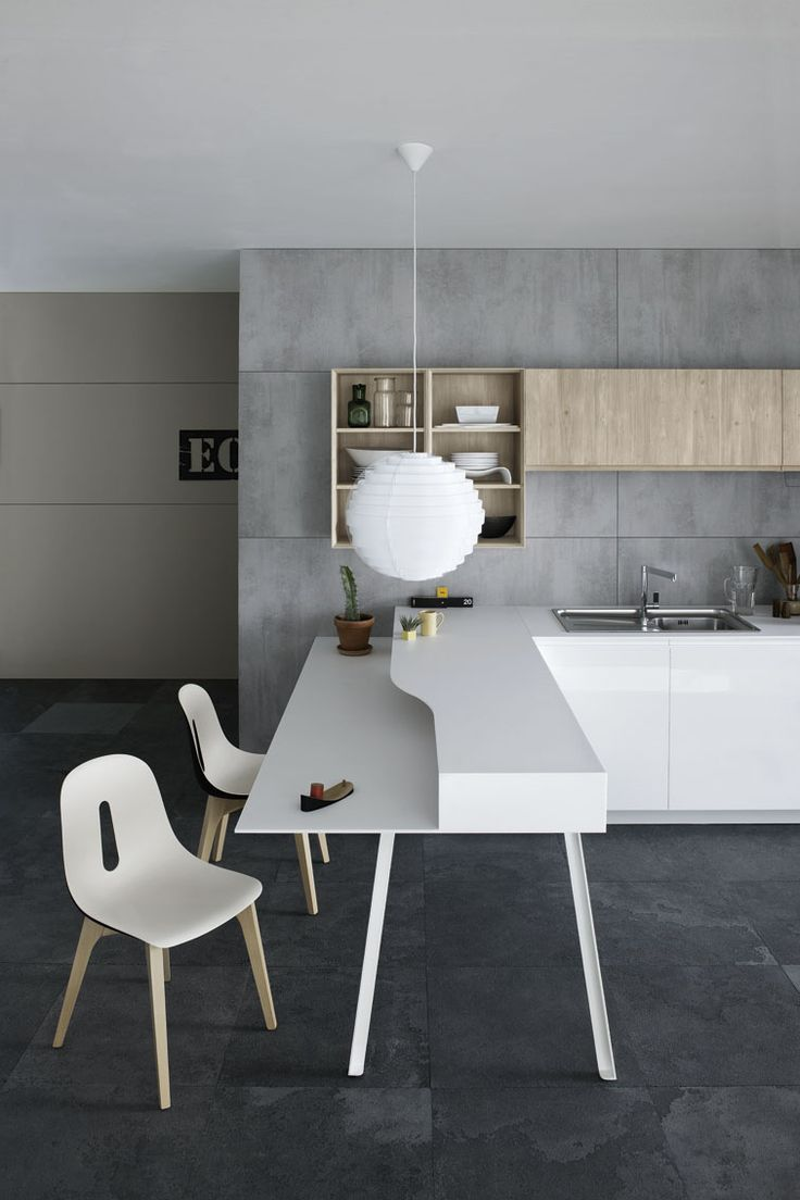 #Kitchen with peninsula without handles MILA 02 by Cesar Arredamenti | #design Gian Vittorio Plazzogna #kitchen