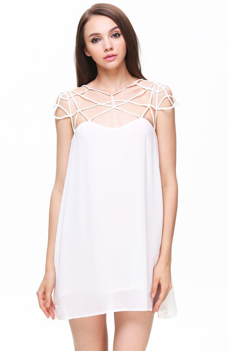 White Girl Cut Out Shift Chiffon Mini Dress 15.83