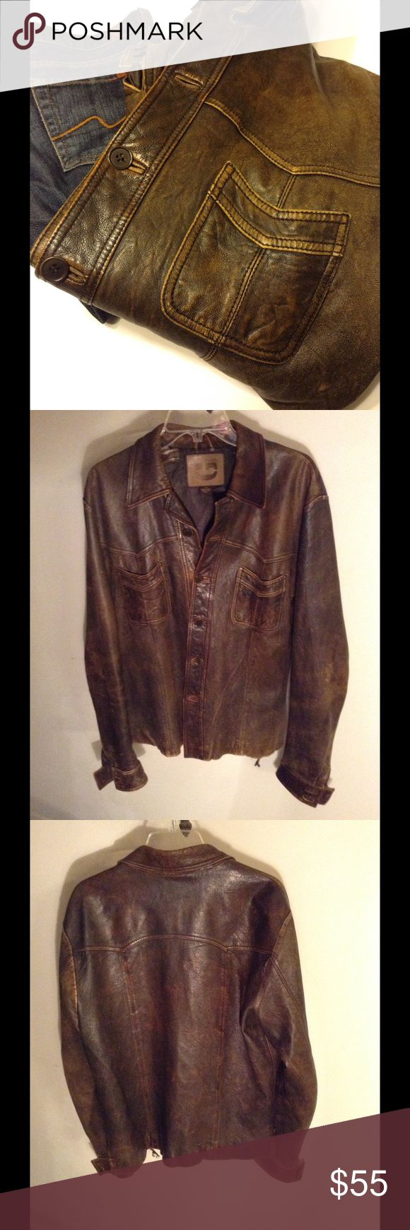 Men's (or Woman's) Leather Jacket 100 % Soft Distressed Leather, Lining Torn in a Few Places - not noticeable when wearing. G Brand Jackets & Coats