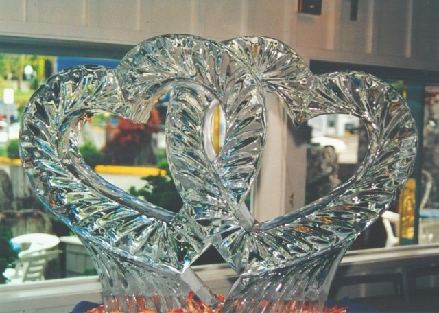 Interlocking Hearts - Ice Sculpture