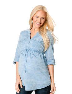 MATERNITY TUNICS: Motherhood Maternity Convertible Sleeve Tie Front Maternity Tunic