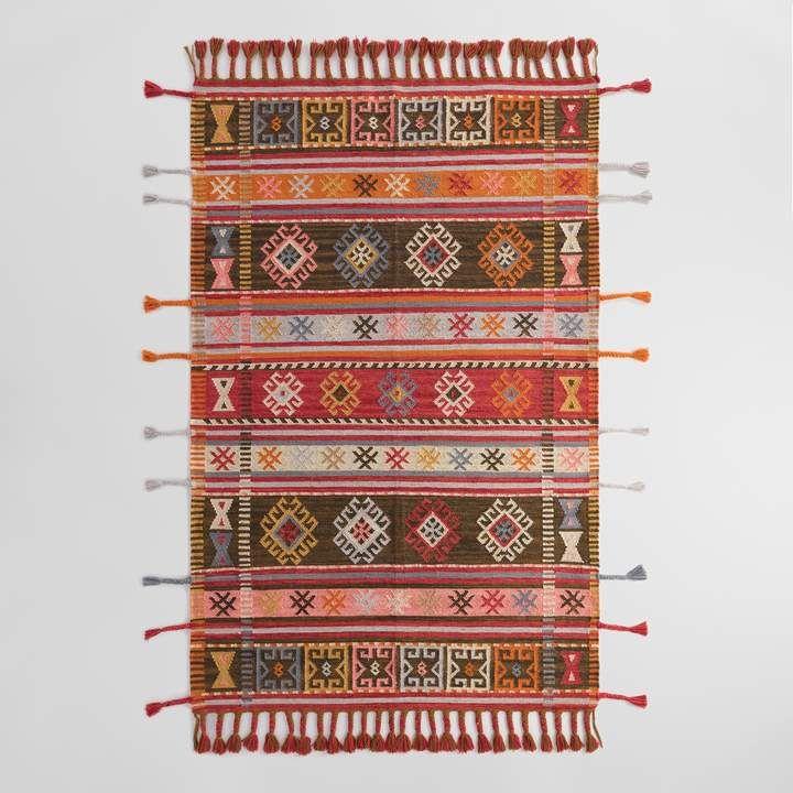 Cost Plus World Market Multicolor Stripe Kilim Woven Zaire Indoor
