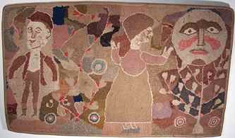 Praying to the Moon Hooked Rug, Artist unidentified, Found in Saugerties, New York; c. 1910-1920, Wool on burlap, 29 x 50 inches. Private New Jersey collection