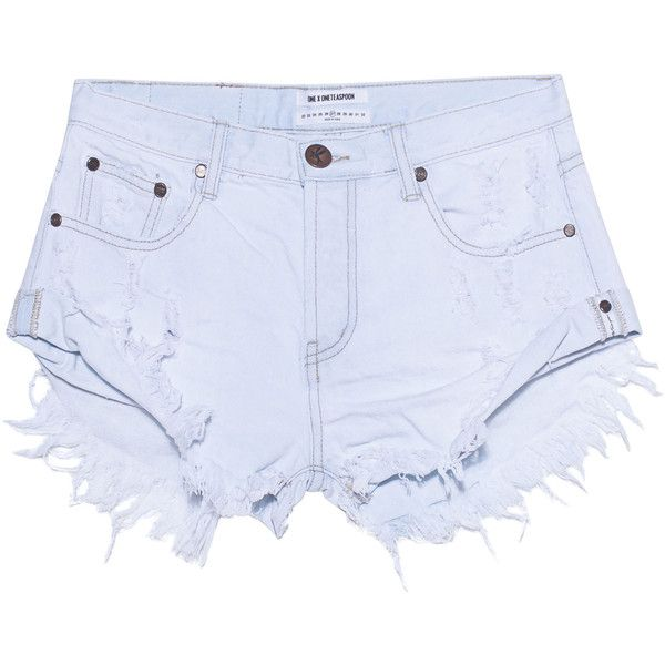 One Teaspoon Xanthe Bandits Light Blue // Destroyed denim shorts ($120) ❤ liked on Polyvore featuring shorts, denim shorts, ripped denim shorts, sexy denim shorts, jean shorts and fringe shorts