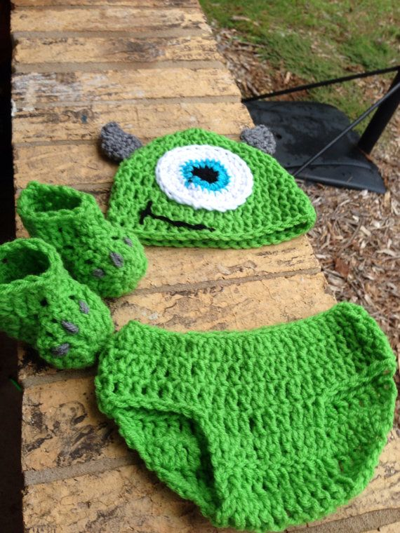 Crochet Mike Inspired by Monsters Inc (University) hat/diaper cover/boots on Etsy, $24.99