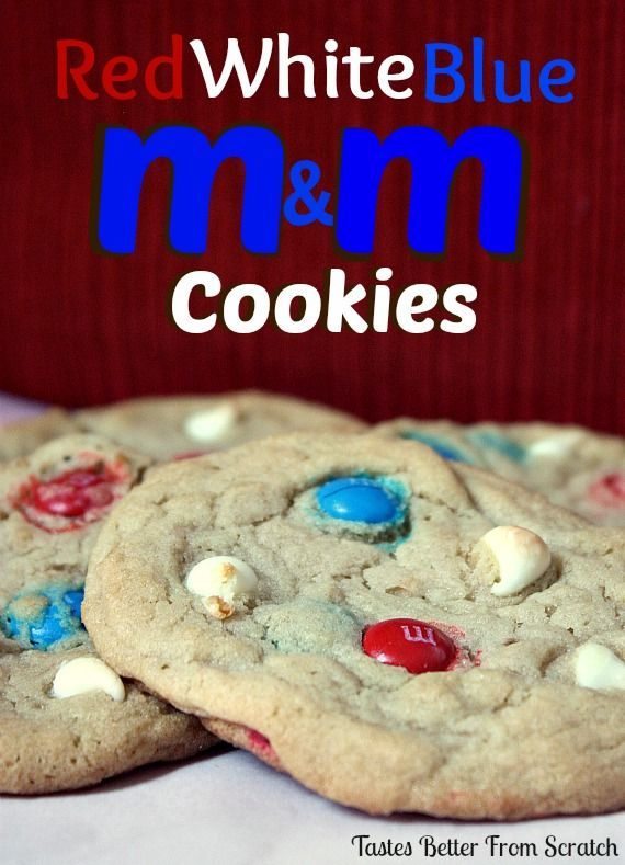 Red, White, and Blue MM Cookies | Tastes Better From Scratch Soft, chewy and delicious!