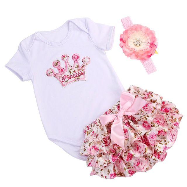 Coroa bebê infantil conjunto de roupas menina bodysuit curto verão; tiara marca bebê recém-nascido menina roupas set traje bebe primeiro aniversário