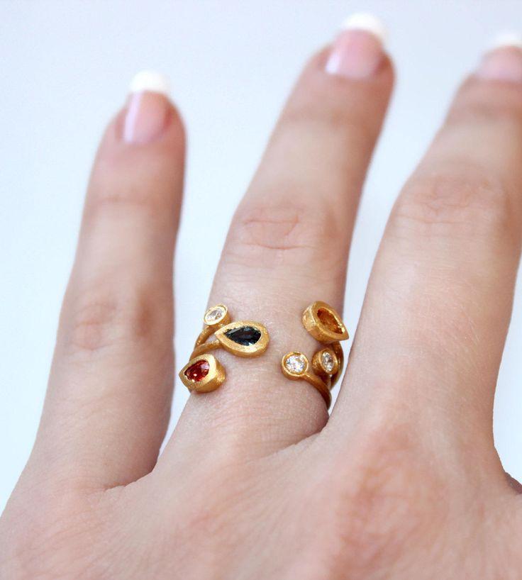 Gemstones Ring Multistone Gold Ring Multiband Gold Ring