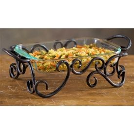 Wrought Iron Siena Server - Designed to elevate glass pans to a whole new level of ambiance and finesse, this hand forged wrought iron server is a piece of art in its own right.
