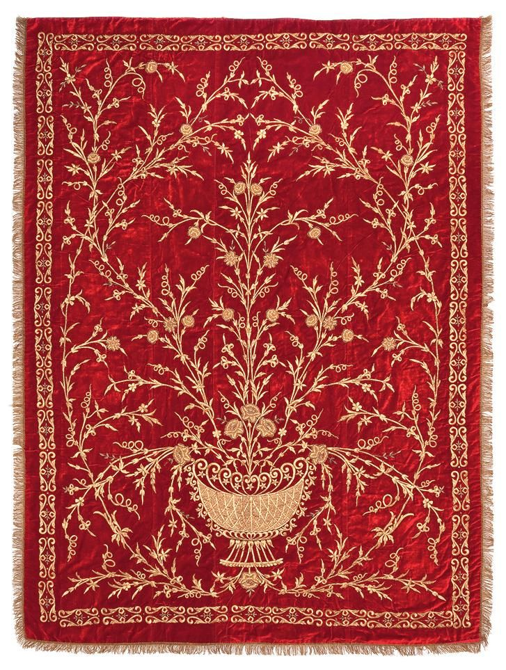 Late-Ottoman embroidered bedspread, 19th century.  'Goldwork' embroidery (golden metal thread) on velvet.