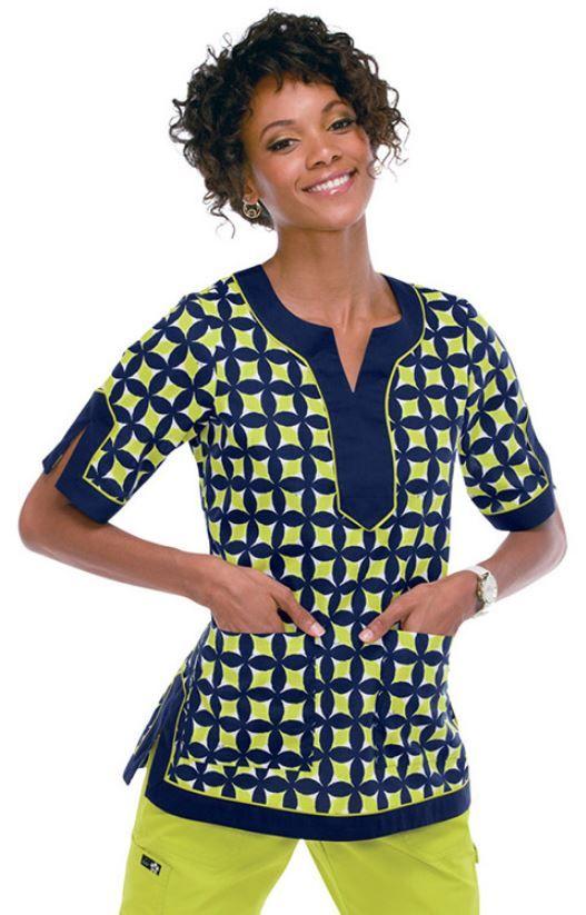 Koi Happiness Scrubs Women's Fashion-Forward Tori Print Scrub Top