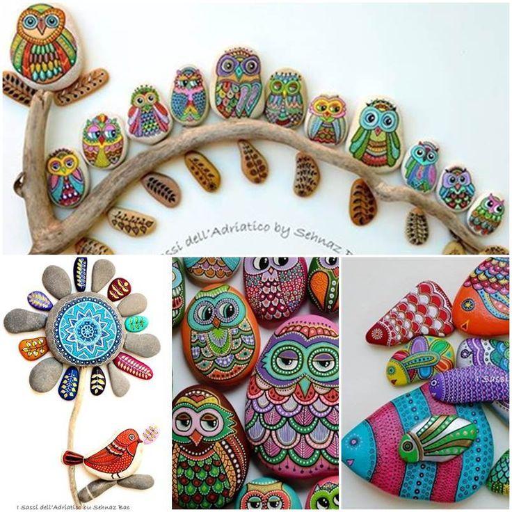 Idéias Criativas - DIY Pintado pedras e seixos