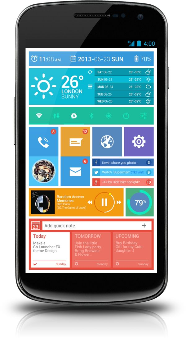 AnWp Flat android home screen concept on Behance