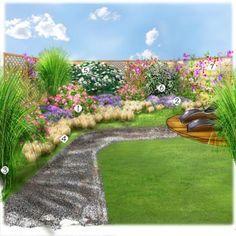 Projet aménagement jardin : Un petit jardin bien tranquille Rosier 'Emera' Lavande Miscanthus Stipa Viorne Eleagnus Pois de senteur