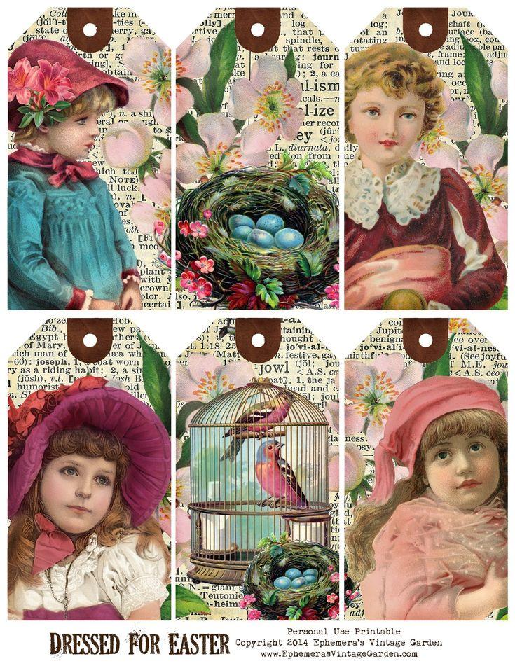 Ephemera's Vintage Garden- Free Printable - Easter Children Hang Tags