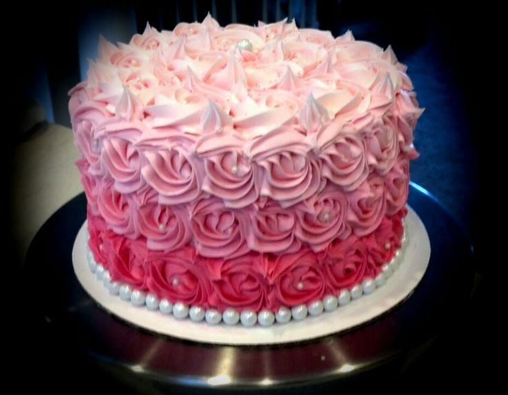 Pink Rosette Cake Images : Ombre Pink Rose Swirl cake www.MissAsParties.com My ...