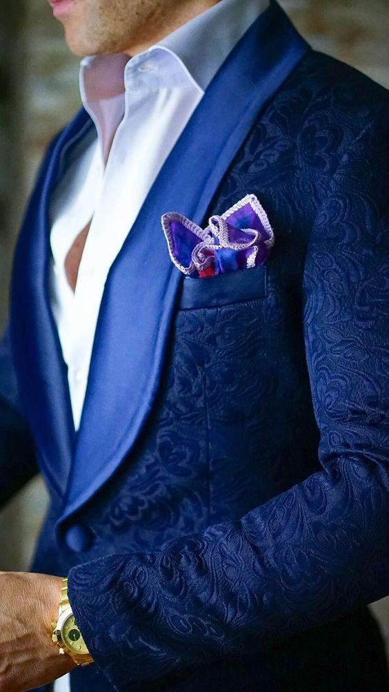 Broke the Internet 2017 Fashion Wedding Suits Blue Slim-Fit  Designer Paisley Jacket Satin Shawl Collar