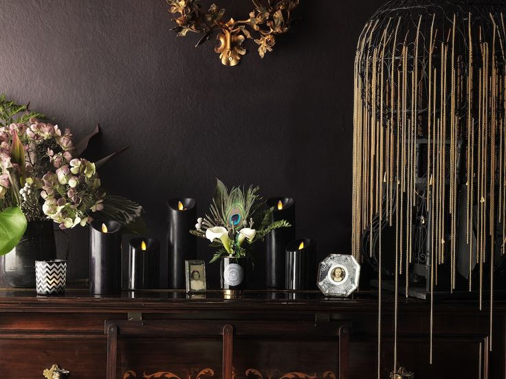 create a sultry ambience in seconds with these chic luminara black led candles