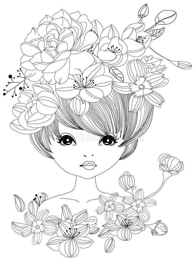 Hubscher Madchen Und Blumenvorratvektor Abbildung Des Madchens 47660645 Embroid Kostenlose Erwachsenen Malvorlagen Bunte Zeichnungen Madchenzeichnungen