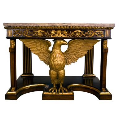 Tuscan Neoclassical Pier Table with Eagle Motif, c. 1820, Giltwood and Onyx (Onda Marino), HEIGHT: 39.25 in. (100 cm) WIDTH: 4 ft. 5.8 in. (137 cm) DEPTH: 26.75 in. (68 cm)