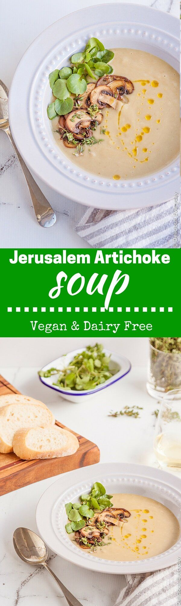 This velvety smooth VEGAN Jerusalem Artichoke soup is topped with mushrooms and watercress for a complete meal in a bowl. Get the recipe at deliciouseveryday.com