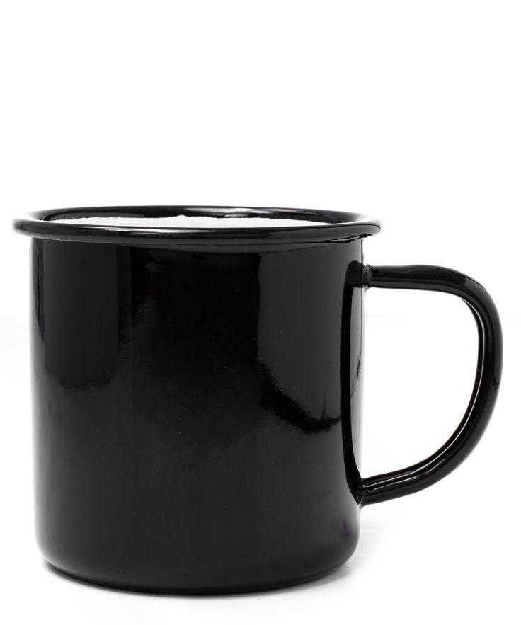 Falcon Coal Black Enamel Mug | Home | Liberty.co.uk