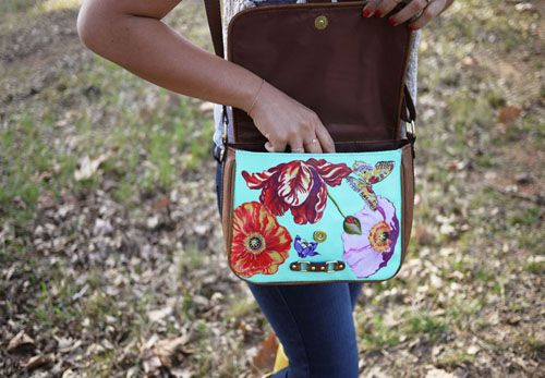 Mod Podge floral purse - martha stewart craft paint, cut outs from fabric