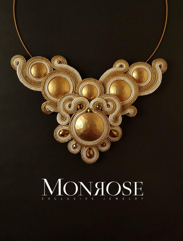 Soutache necklace gold and beige