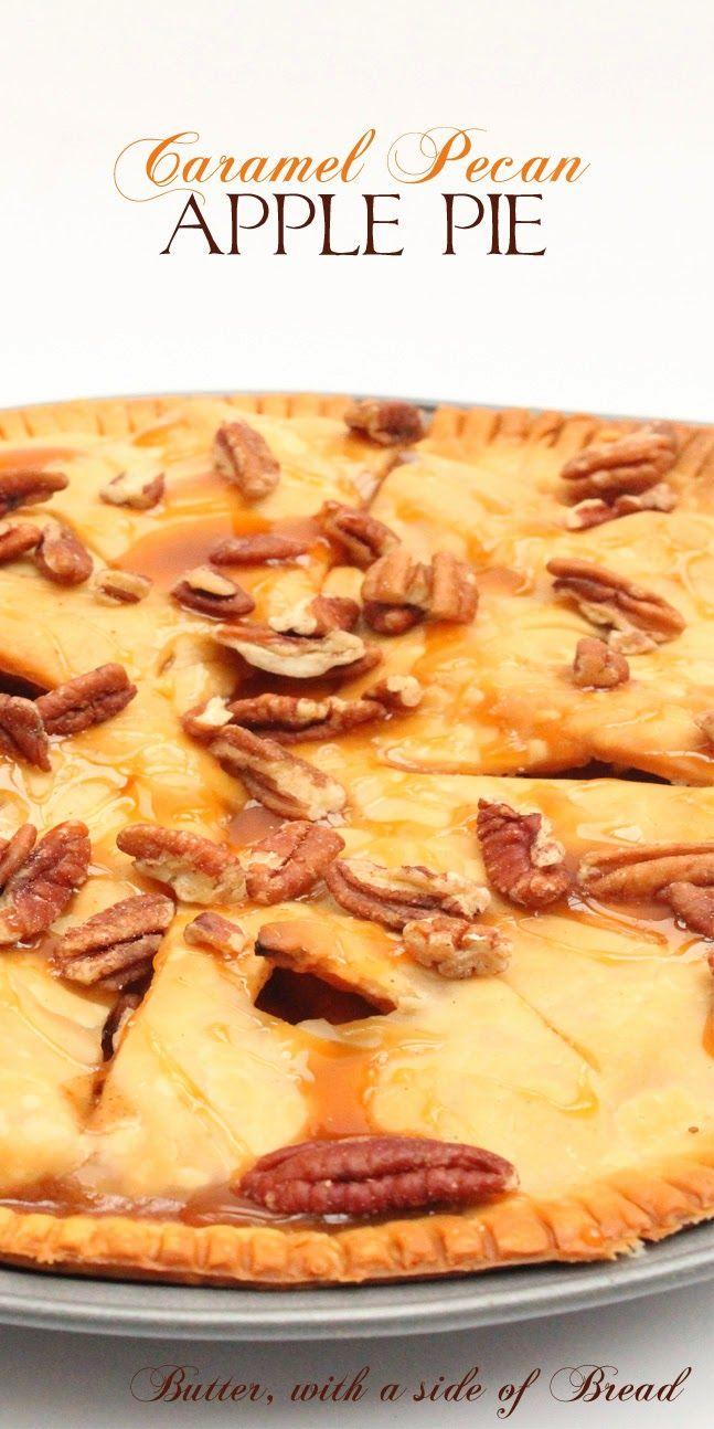 Caramel Pecan Apple Pie ~ Butter With A Side of Bread #recipe #pie