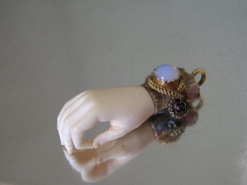 Victorian hand charm. Gold, Moonstone,  Make out of doll hands