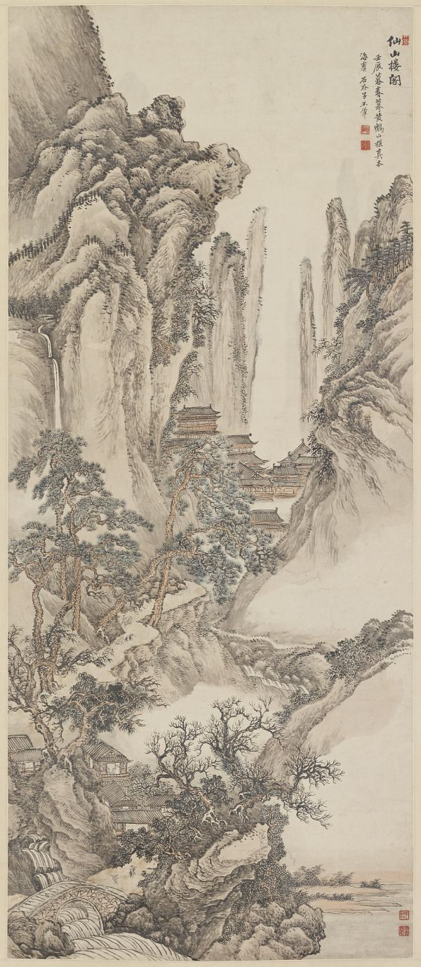 A calligraphic inscription at the top left of this hanging scroll identifies its inspiration as the work of the early master Wang Meng (circa 1308–85). Wang was known for creating landscapes featuring dense textures and full compositions. To express a dense texture in this work, the artist, Wang Hui, used a dry brush with ink to articulate rocks, trees, and water.