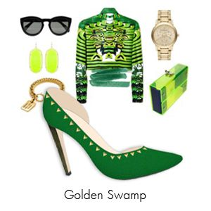 latest d'orsay cut in green genuine leather, exotics leather covered heels, and spiced with dash of gold triangles studs