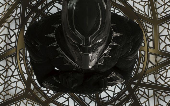 Download wallpapers Black Panther, 4k, superheroes, 2018 movie, art