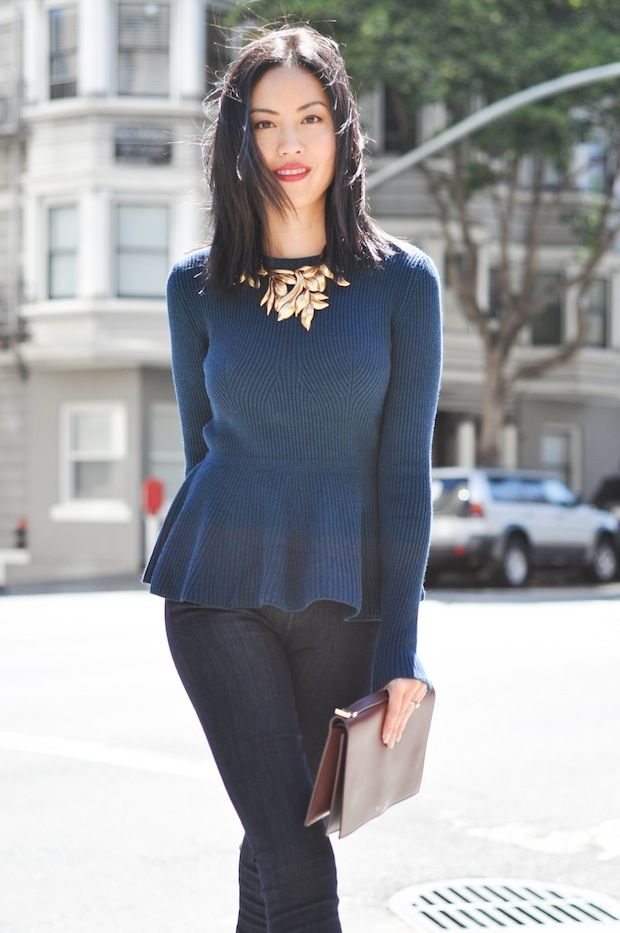 Bring the peplum trend into colder months with long sleeve styles