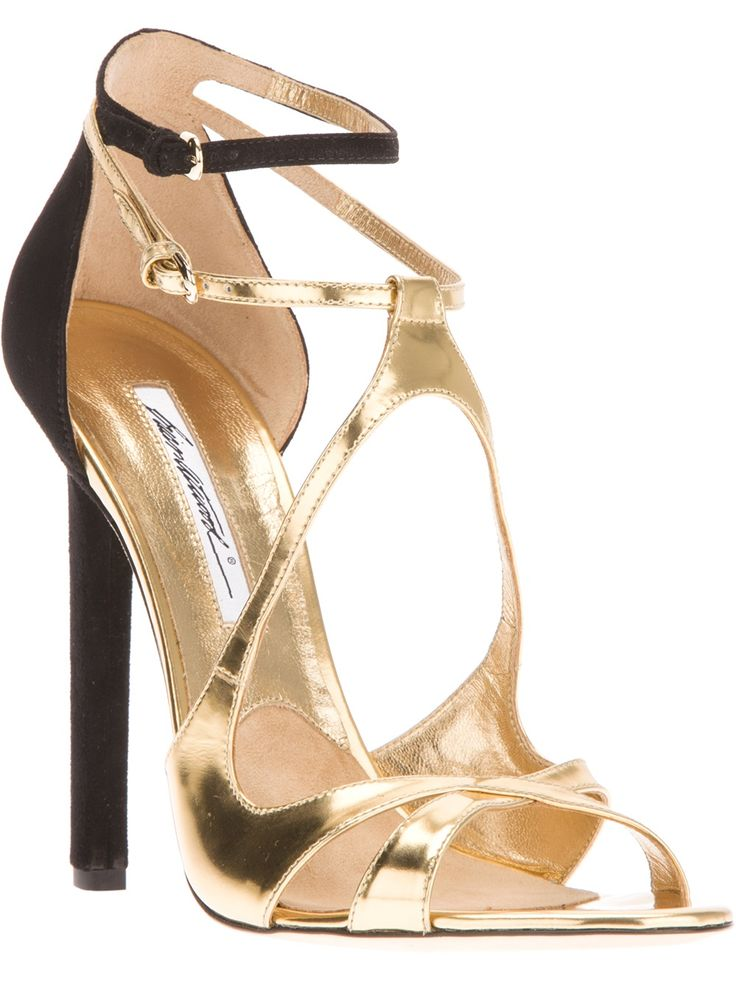 Brian Atwood // sandals // strappy heels // gorgeous // gold heels // gold and black