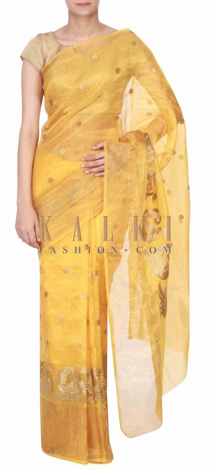 Buy this Yellow chanderi saree adorn in zari embroidery only on Kalki
